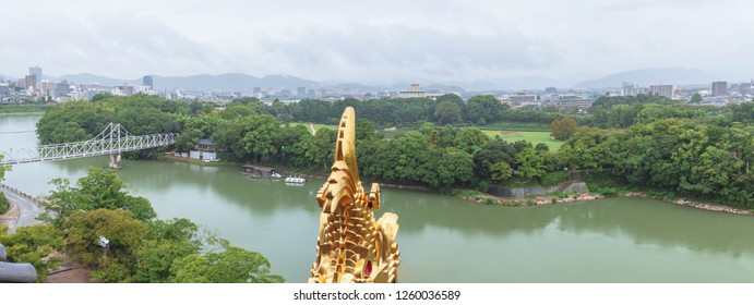 Cityscape of the Okayama city from the Okayama castle in Japan