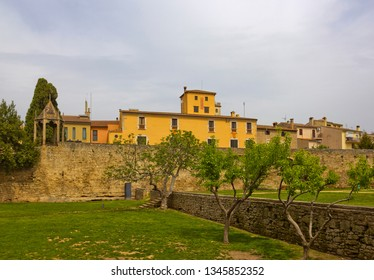 Cityscape with old buildings and park in Banyoles, which is a town in Girona province, Catalonia, Spain