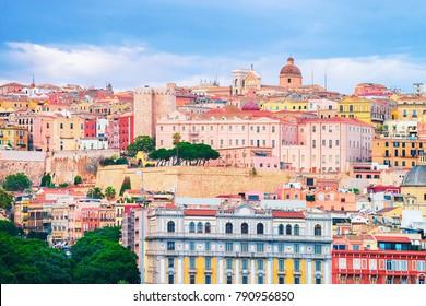 Cityscape of the old center of Cagliari, Sardinia, Italy