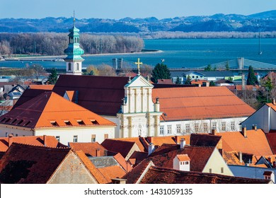 Cityscape with old city and Drava River in Ptuj Castle in Slovenia. Ptujski grad in Slovenija. Travel