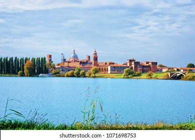 Cityscape of the old city of Mantua and Mincio River, Lombardy, Italy