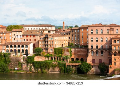 Cityscape of old town Albi, France. Horizontal shot