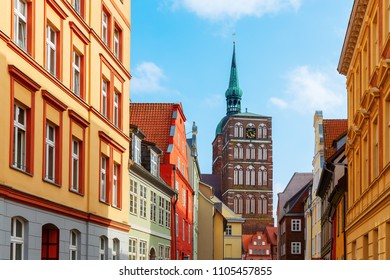 cityscape of the old town of the Hanseatic city Stralsund, Germany