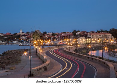 Cityscape of old town of Nessebar at night