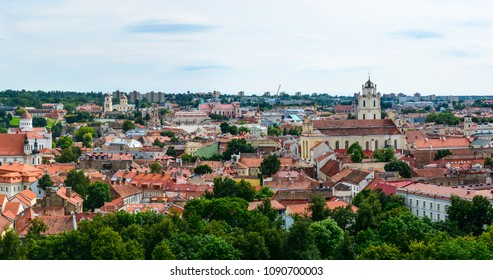 The cityscape old town of Vilnius, Lithuania. Medieval architecture, Gothic style buildings