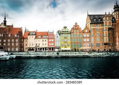 Cityscape on the Vistula River in historic city of Gdansk  in Poland
