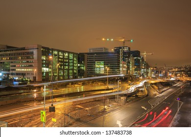 Cityscape of Oslo Downtown at night Norway
