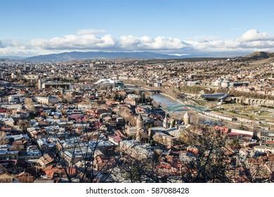 Cityscape, panorama of the Georgian capital - Tbilisi. Georgia.