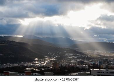 Cityscape panorama with sky heaven light sun rays, Usti nad Labem, Czech republic