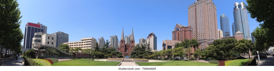 Cityscape - Panoramic view for the square of St. Ignatius Cathedral, also referred to as Xujiahui Cathedral ,one of most famous Catholic cathedral in shanghai,China