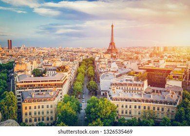 Cityscape of Paris at sunset. French capital city. Popular european destination.