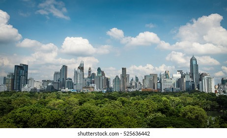 Cityscape with park and sky