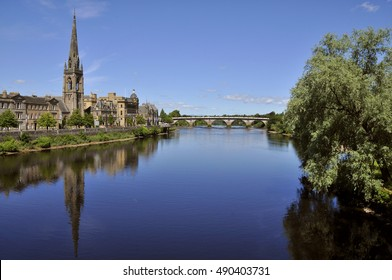 Cityscape of Perth Scotland UK with the River Tay in the foreground