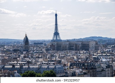 Cityscape photographed from the top of the Notre Dame Cathedral, with the Eiffel Tower in the background, in Paris, France
