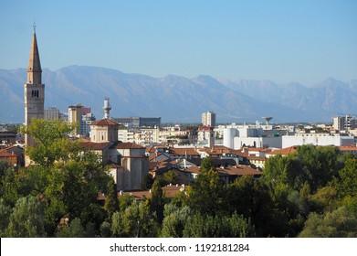 Cityscape of Pordenone, town in the autonomous region of Friuli in Italy,
