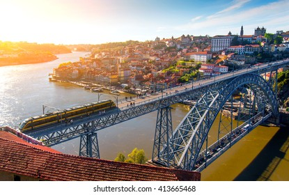 Cityscape of Porto downtown touristic Ribeira and D Luis Bridge
