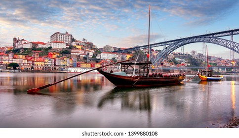 Cityscape of Porto (Oporto) old town, Portugal. Valley of the Douro River. Panorama of the famous Portuguese city.