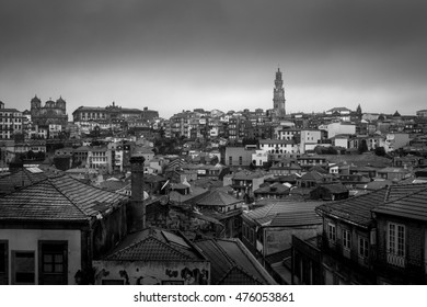 Cityscape of Porto, Portugal in Black and White with view of the Clerigos Bell Tower (Torre dos Clerigos) and Monastery of Misericordia (Igreja da Misericordia)