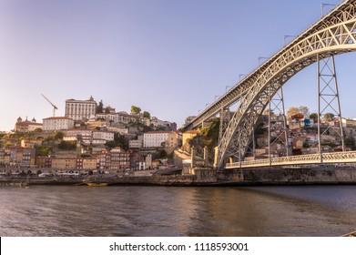 Cityscape of Porto, Portugal and the bridge D. Luis I