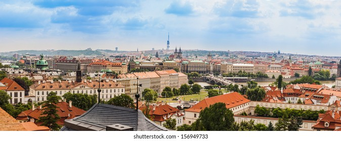 cityscape of Prague city. Panoramic view. One of the most beautiful city in Europe
