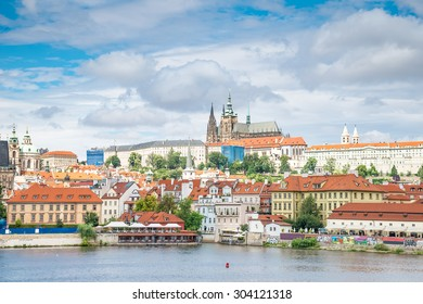 Cityscape of Prague. Panoramic view of Prague and river Vltava in Prague in summer