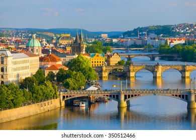 Cityscape of Prague at sunset time in summer
