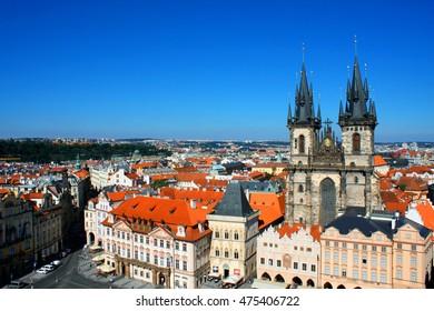 Cityscape of Prague with tyn church, Czech
