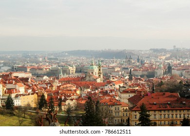 Cityscape of Prague in winter, Czech Republic. Red roofs. Photography