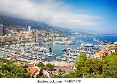 Cityscape Principality of Monaco, French Riviera. Panoramic view of Monte Carlo harbour in Monaco.