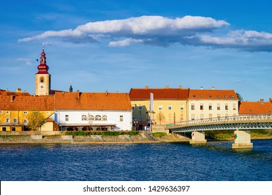 Cityscape of Ptuj Castle and bridge at old town at Drava River in Slovenia. Architecture in Slovenija. Travel