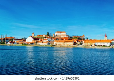 Cityscape in Ptuj Castle and old town at Drava River in Slovenia. Architecture in Slovenija. Travel