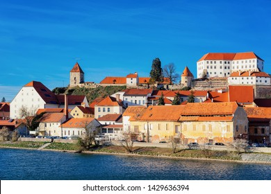 Cityscape and Ptuj Castle and old town at Drava River in Slovenia. Architecture in Slovenija. Travel