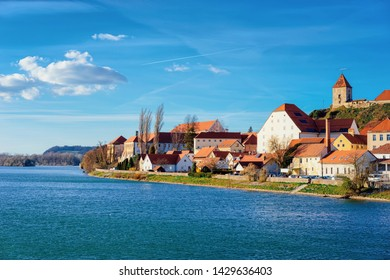 Cityscape of Ptuj Castle and old town at Drava River in Slovenia. Architecture in Slovenija. Travel