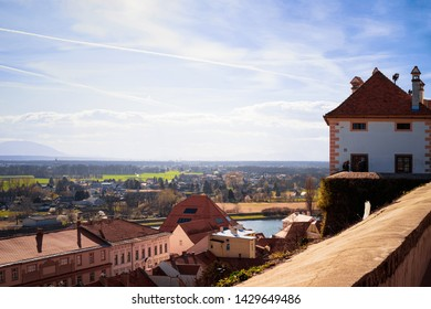 Cityscape from Ptuj Castle to Old town and Drava River in Slovenia. Architecture in Slovenija. Travel
