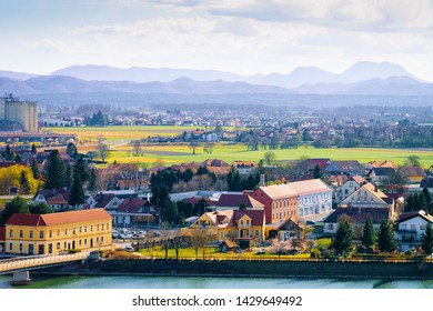 Cityscape from Ptuj Castle on Old town and Drava River in Slovenia. Architecture in Slovenija. Travel