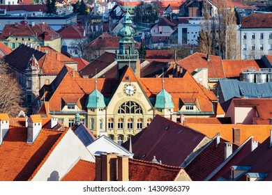 Cityscape of Ptuj old city with Town Hall in Slovenia. Architecture in Slovenija. Travel