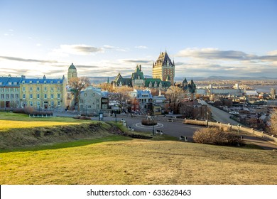 Cityscape of Quebec City with Chateau Frontenac on Spring.