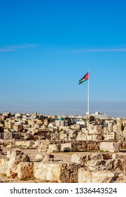 Cityscape with Raghadan Flagpole seen from Citadel Hill, Amman, Amman Governorate, Jordan