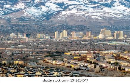 Cityscape of Reno Nevada in the winter.
