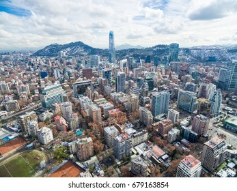 Cityscape of the residential and commercial area at Santiago de Chile.