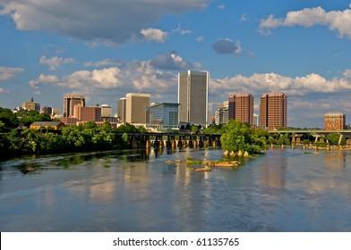 Cityscape of Richmond, Virginia architecture over the James River.