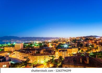 Cityscape of Rijeka (Croatia) by night