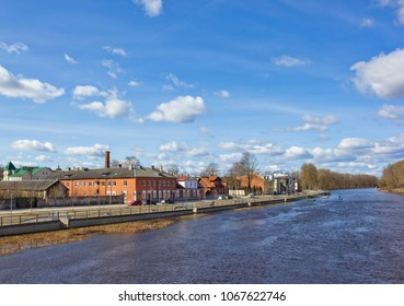 Cityscape with river and old buildings in Tartu, Estonia