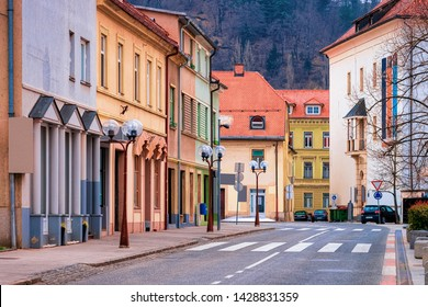 Cityscape with road of Celje old town in Slovenia. Architecture in Slovenija. Travel