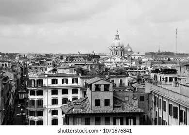 Cityscape of Rome, Italy. Skyline of Italian capital city. Black and white vintage style.