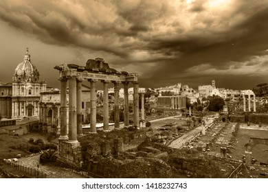 Cityscape of Rome panorama at sunset