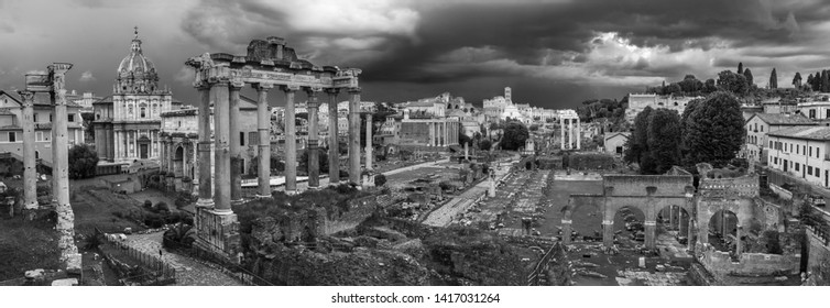 Cityscape of Rome   at sunset.  black and white panorama