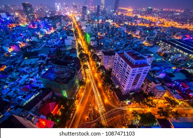 Cityscape of Saigon downtown, viewed from top of building. Saigon (Ho Chi Minh city) is the largest city in Vietnam with population around 10 million people.