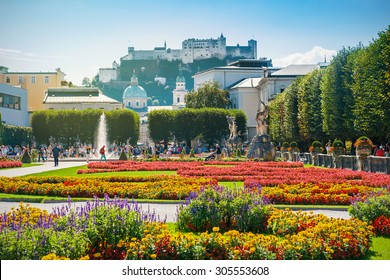 Cityscape of Salzburg from Mirabell Garden in the morning, Austria