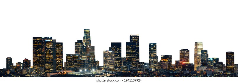 Cityscape of San Francisco at night (California, USA) isolated on white background - Shutterstock ID 1941139924
